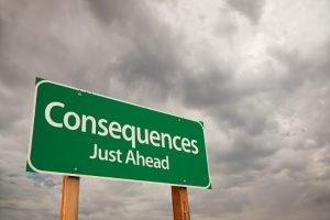 """a road sign that reads """"consequences just ahead"""""""