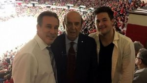 Courtesy of Ken Daniels. Detroit Red Wings announcer Ken Daniels, left, legendary hockey voice Bob Cole, and Ken's son, Jamie, right.