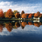 A view of a treeline in the background with the reflection of the trees in a lake in the fore-ground. The trees are turning various shades of orange, gold and red as the autumn season unfolds.