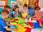kids working on craft