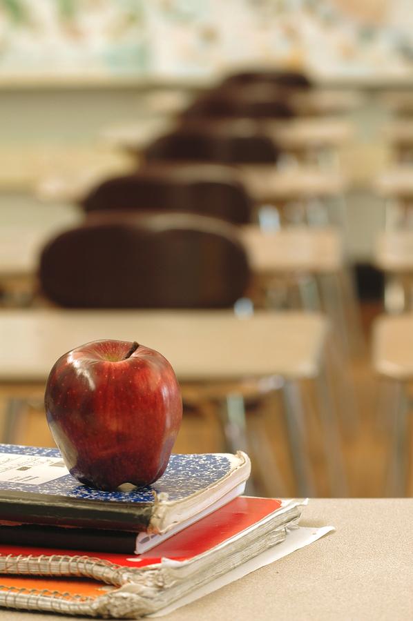 apple on school desk