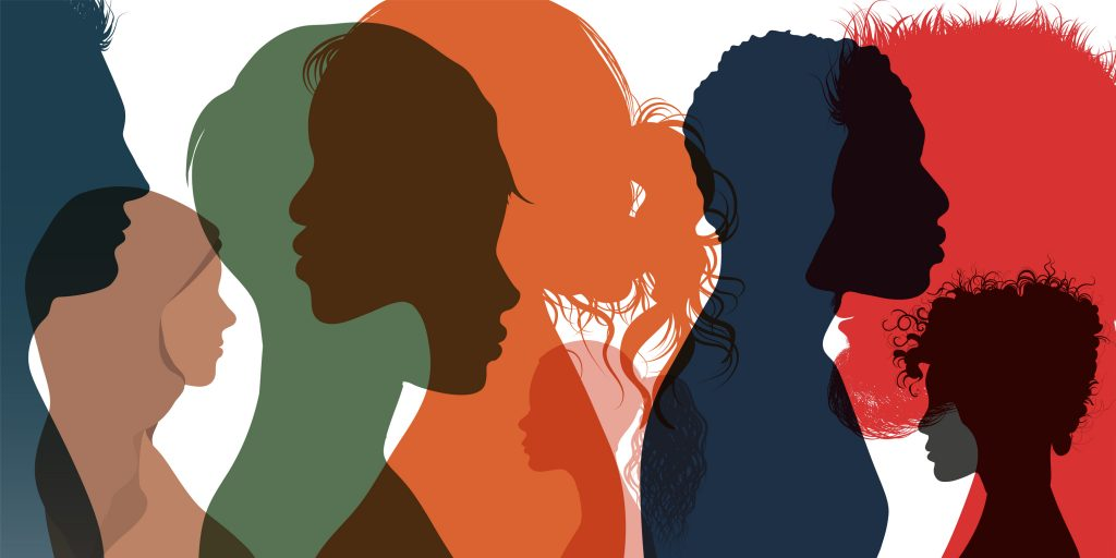 Silhouette profile group of men women of diverse cultures. Diversity multi-ethnic and multiracial people. Racial equality and anti-racism concept.