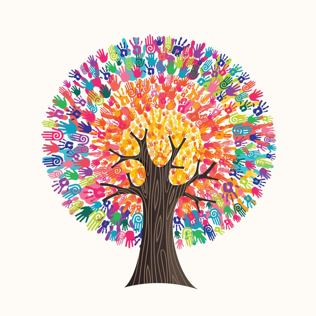 Tree made of colorful human hands in branches creates a vibrant sun. diverse culture group.