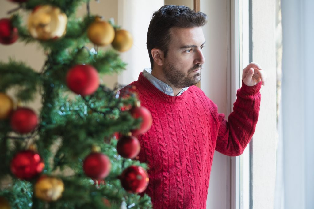 Man depression during christmas holiday and new year day