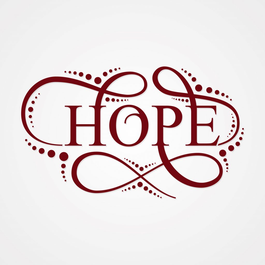 Hope letter concept design on the white background.