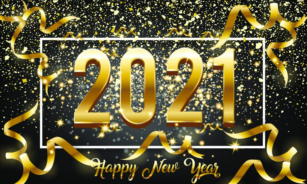 Happy New Year 2021 Golden background with Burst glitter and Golden text