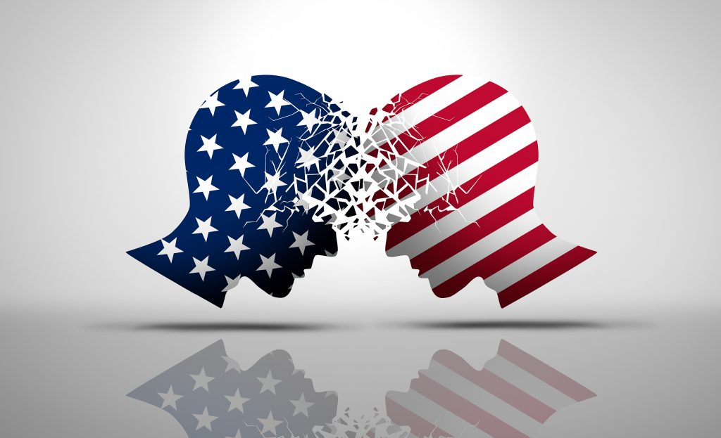 US social issues argument or political war as an American culture conflict with two opposing sides as conservative and liberal political dispute