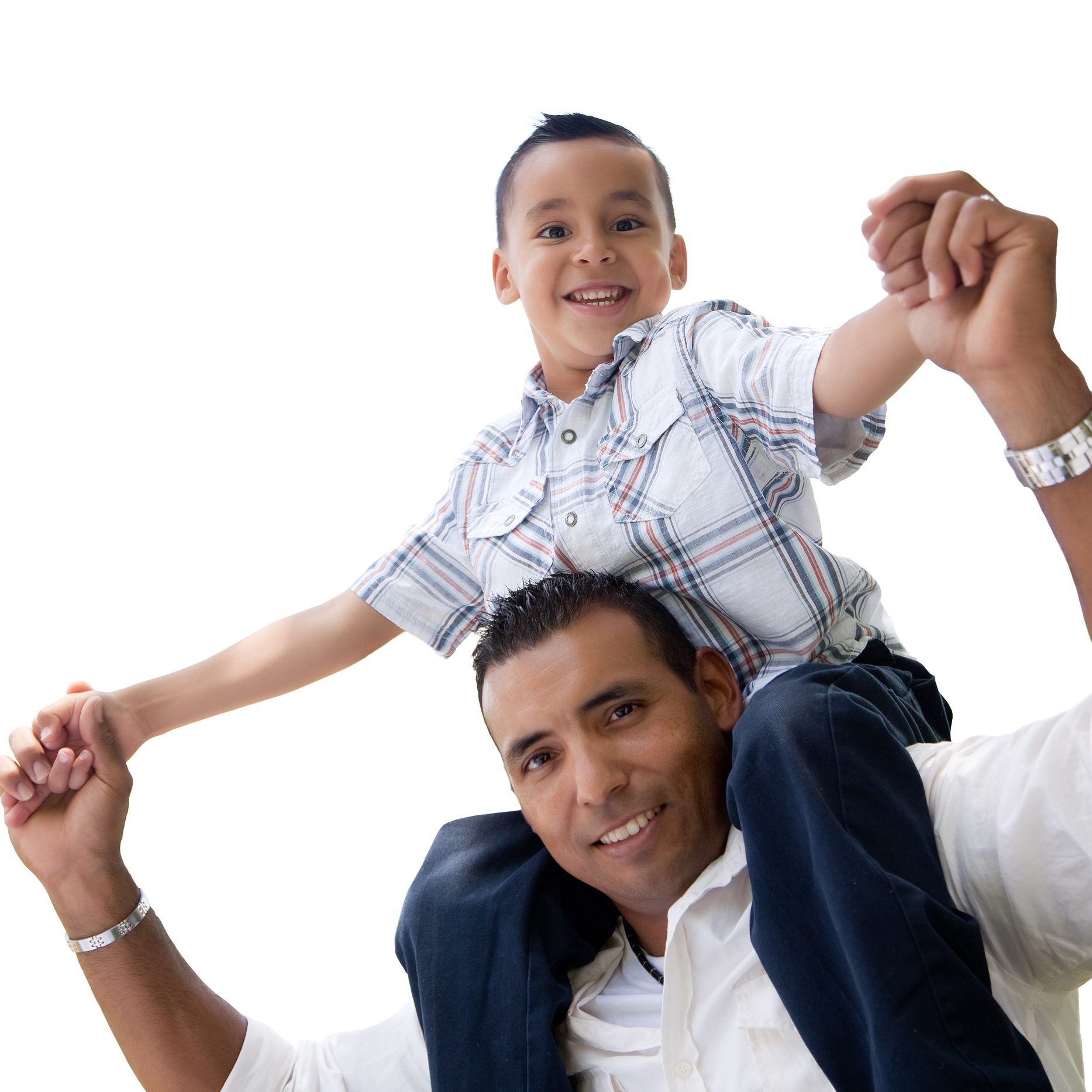Hispanic Father and Son Having Fun Isolated on a White Background.