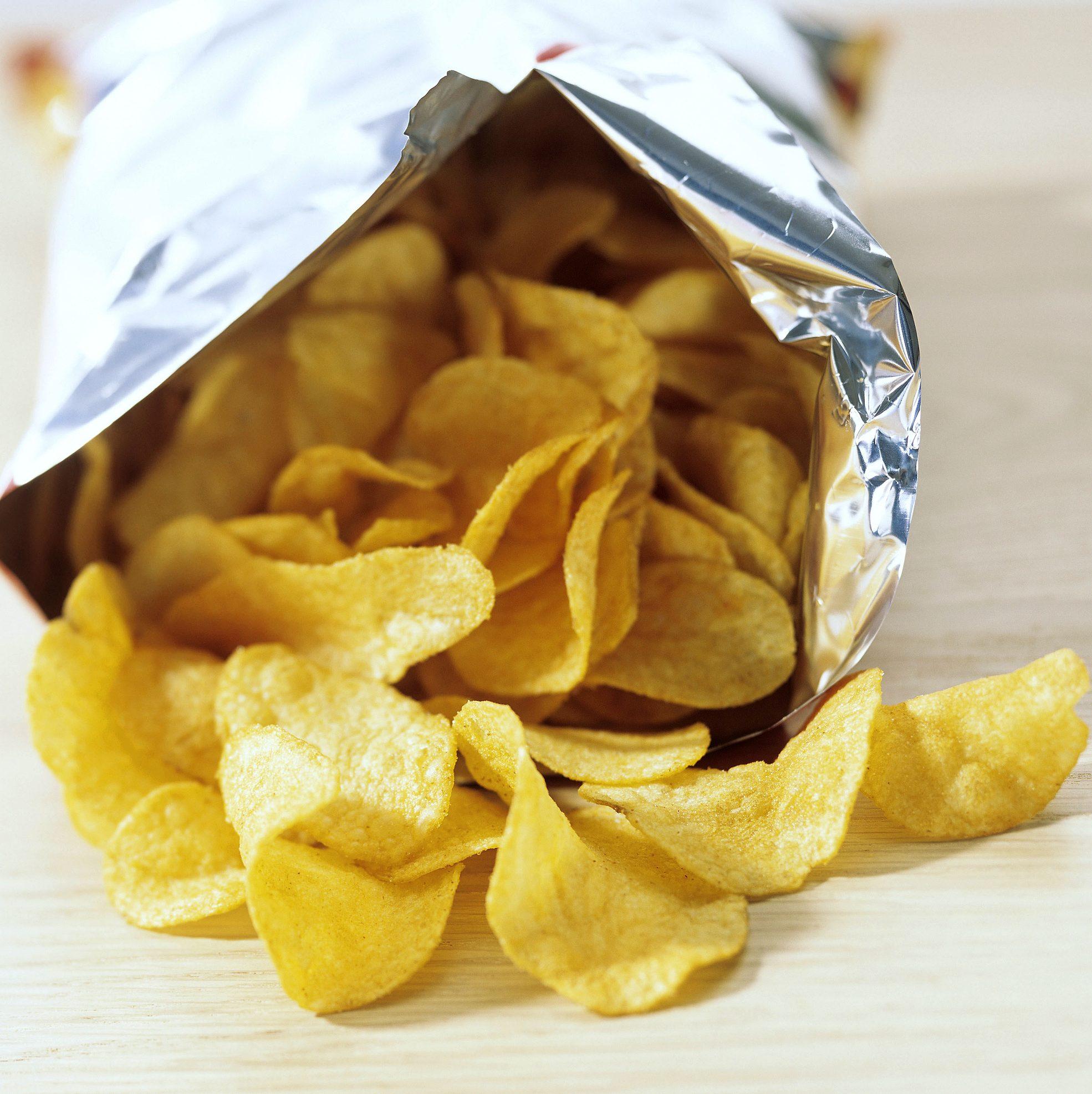 Bag of potato crisps snacks chips junk food