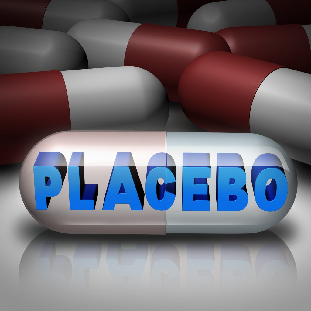 Placebo effect medical health concept as a transparent pill with text inside
