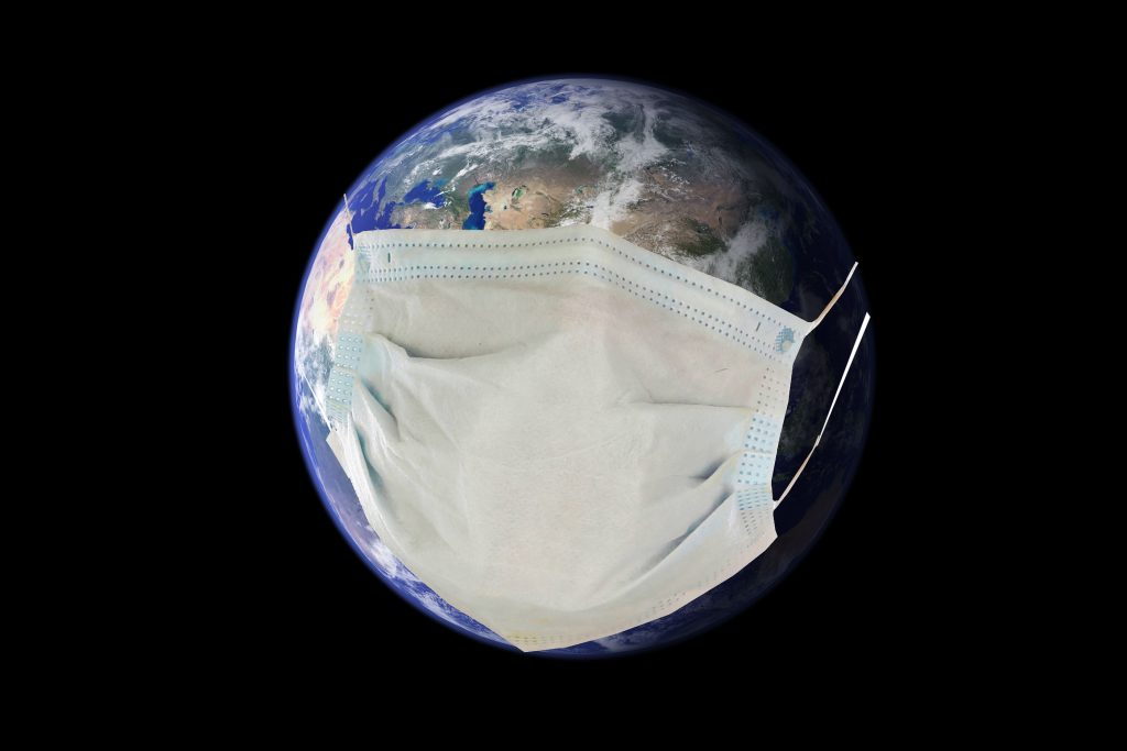 Earth wears a Paper Face Mask to protect itself from Pandemic.
