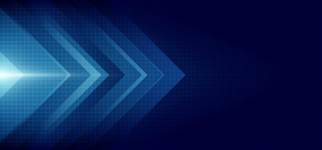 Abstract blue arrow glowing with lighting and line grid on blue background technology hi-tech concept. Vector illustration
