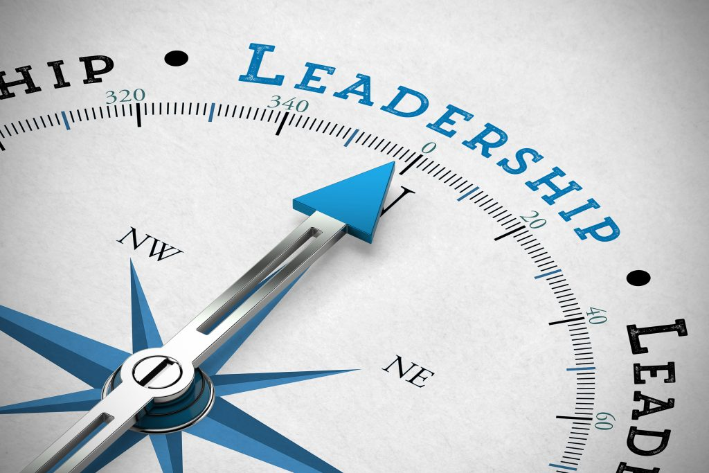 Arrow of a  compass pointing to the word Leadership (3D Rendering)