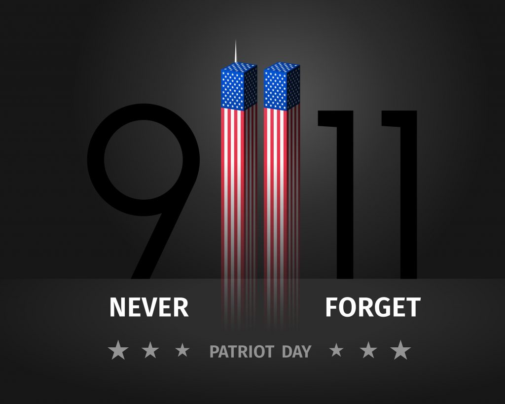 9/11 USA Patriot Day. Never Forget September 11, 2001. Conceptual illustration for Patriot Day US poster or banner. Twin Towers stylized with American flag on black background.